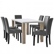[en.casa] Mesa sofisticada en blanco y apariencia de roble (160 x 85 cm) + Set de 6 sillas de diseño de cuero sintético (gris claro)