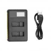 Incarcator dual baterii GoPro Hero 5/6 cu ecran indicator de incarcare (Negru)