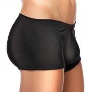 Male Power Cotton Rib Pouch Shorts Boxer Brief Underwear Black 153-051