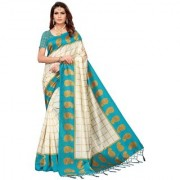 Indian Beauty Women's Sky Blue Color Mysore Silk Printed Saree Border Tassels With Blouse Piece(WEDDING-PATTA-SKY_Free Size)