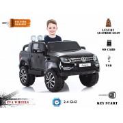 Mașinuță electrică pentru copii Volkswagen Amarok- 2.4 Ghz, 4x motoare, telecomandă, scaun din piele, roți ușoare EVA, vopsită în Negru