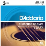 D'Addario EJ16-3D Phosphor Bronze Acoustic Guitar Strings Light 3 Sets