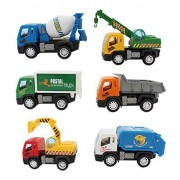 SAJANI Kid's ABS Plastic Construction Vehicle Set of Dumper, JCB, Cement Mixer, Transportruck, GarbageTruck, Container and Crain -Pack of 6 Pieces