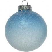 Decoris 1x Blauw/witte ombre kerstballen 8 cm kunststof - Kerstbal