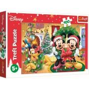 Puzzle clasic pentru copii - Minnie si Mickey Mouse sarbatorind Craciunul 100 piese