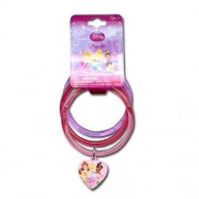 Disney Princess Glitter Bangle Bracelets with Plastic Charm