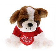 Dollibu St. Bernard Dog I Love You Valentines Stuffed Animal - Red Message Tshirt 7.5 Inch Super Soft Plush (K5345 5994)