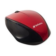 Verbatim Mouse - Radio Frequency - USB 2.0 - Blue Optical - 2 Button(s) - Red - 1 Pack