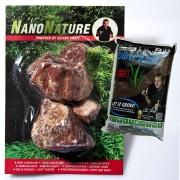 NanoNature set de decoración con rocas de Borgoña - 5 rocas + 3 litros NatureSoil negro, fino