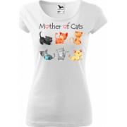 Tricou cu maneca scurta alb K-off XS Mother of cats