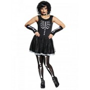 Vegaoo Skelettkostüm für Damen Halloween schwarz-weiss