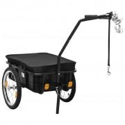 vidaXL Remorque de bicyclette/chariot à main 155x61x83 cm Acier Noir