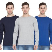 Cliths Full Sleeves Tshirts for Men Pack of 3 Cotton Round Neck Tshirts (Royal Blue Navy Blue Light Grey)