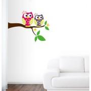 EJA Art cute owl Wall Sticker (Material - PVC) (Pec - 1) With Free Set of 12 pec butterflies sticker