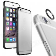 Caso del capitulo de aleacion de aluminio de parachoques + guardia de la lente Anillo de iPhone6 ??- Negro