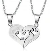 Ezüst színű, páros szív medál nyaklánccal, cirkónia kristállyal