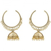 Kiyara Accessories Traditional jewellery hoop with jhumka earring with small pearls hanging in gold plating light weight