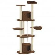 vidaXL Ansamblu pentru pisici cu stâlpi din funie sisal, maro, 160 cm