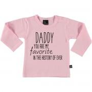 Babystyling Favorite daddy longsleeve shirt 50 Roze/Zwart