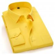 Camisas De Hombre De Negocios De No Plancha De Color Sólido -Amarillo