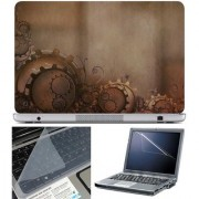 Finearts Laptop Skin Gear On Brown With Screen Guard And Key Protector - Size 15.6 Inch