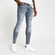 River Island Mens Blue Ollie spray on distressed skinny jeans (26L)