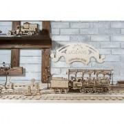 Ugears Bundle 3 in 1 Steam Engine with Tender+Railway Platform+Set of Rails With Crossing
