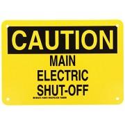 Brady 126973 Electrical Hazard Sign, Legend Main Electric Shut-Off, 7 Height, 10 Width, Black on Yellow