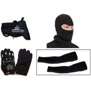 AutoStark Bike Combo + Knighthood Gloves + Alpinestar Face Mask + Arm Sleeve + Bike Body Cover For Hero Passion Pro TR