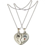 Men Style Best Friend Matching Hearts Crystal Friendship Gift With 2 Chain Silver Zinc Alloy Heart Pendant