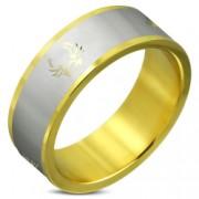 Inel auriu din otel inox cu motive tribale