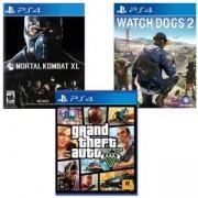 Игра Watch Dogs 2 за Playstation 4+Игра GTAV (GTA5): Grand Theft Auto V за PS4+Игра Mortal Kombat XL PS4