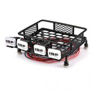 Cecileie Small Roof Rack Luggage Carrier with 4 Square LED Light Bars RC Car Crawler Truck For Axial SCX10 D90 110 Traxxas