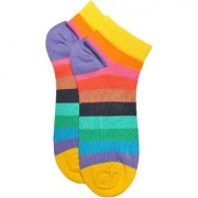 Soxytoes You Make My Life ColourfulMulti-Coloured Cotton Ankle Length Pack of 1 Pair Striped Unisex Casual Socks (STS0194)