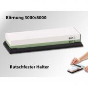 TokioKitchenWare Doppel-Wasser-Schleifstein mit rutschfestem Halter, Körnung 3000/8000