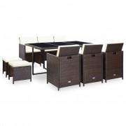 vidaXL Set mobilier de exterior 27 piese, poliratan, maro
