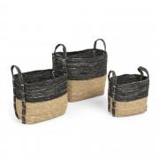 Kave Home Conjunto Kysna de 3 cestos cinzento-escuro e castanho