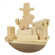 Carpenter Educational Wooden Toy Boat Balancing Game Set with Cute Tiny Men Stacking Blocks