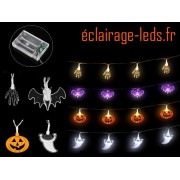 Lot de 4 guirlandes lumineuses LED halloween 3M sur pile ref dlf-08