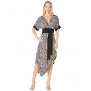 BCBGMAXAZRIA Short Sleeve Printed Matte Jersey Wrap Dress Optic White Swirling Leopard