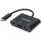 MH adapter USB 3.1-C M/HDMI+USB 3.0+USB-C Ž crni