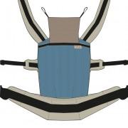 Nandu ÖKO Bébi Csatos állítható hordozó - Azurkék drapp pánttal