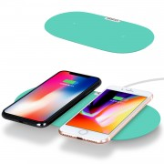 MOMAX Q. Pad Dual Quick Charge Wireless Charging Mat for iPhone X/8/8 Plus, Samsung Note S9 (Not Support FOD Function) - Cyan