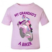 N - My Grandad is a biker motorcycle toddler baby childrens kids t-shirt 100% cotton