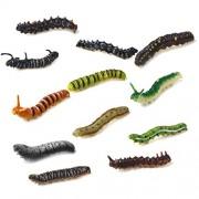 Anbau Set of 12pcs Mixed Plastic Vivid Twisty Worm Model Colorful Funny Pretend Trick Toys