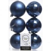 Decoris 6x Donkerblauwe kerstballen 8 cm glanzende/matte kunststof/plastic kerstversiering