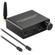 MYPIN 192 kHz convertidor digital a analógico Bluetooth 5.0 receptor DAC con 16 300 amplificador de auriculares óptico/coaxial a RCA salida de audio de 3,5 mm con control de volumen para TV Teléfono Tablet