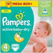 Scutece Pampers Active Baby 4 Mega Box Pack 7-14Kg (147)