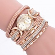 Rrimin Female Chic Diamond Bracelet Colorful Multi Color Watch (Beige)