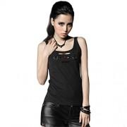 Punk Chaleco sin mangas de algodón gótico para mujer con agujero roto para verano, color negro, Negro, M